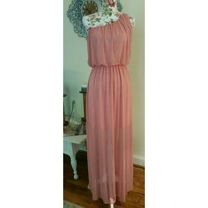 SOPRANO Pink/Peach One Shoulder Semi Sheer Maxi L